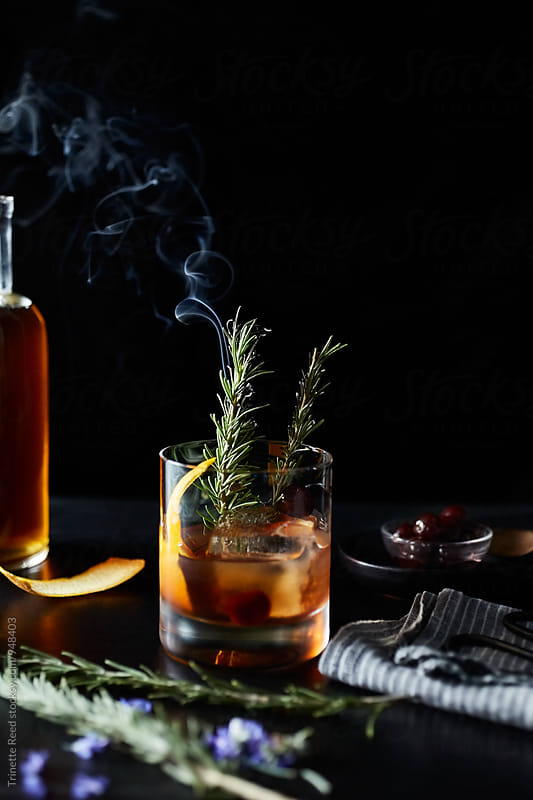 Maple Old Fashion Cocktail Drink with Smoking Rosemary