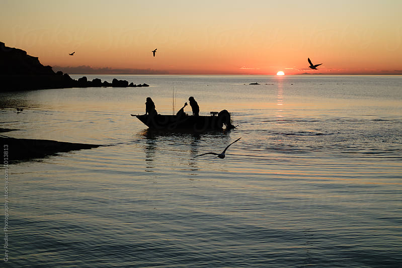 People in a Fishing Boat on Port Phillip Bay, Victoria, Australia by Gary Radler Photography for Stocksy United