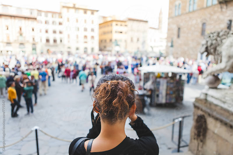 Young Woman Photographing Famous Plaza in Florence, Italy by Giorgio Magini for Stocksy United