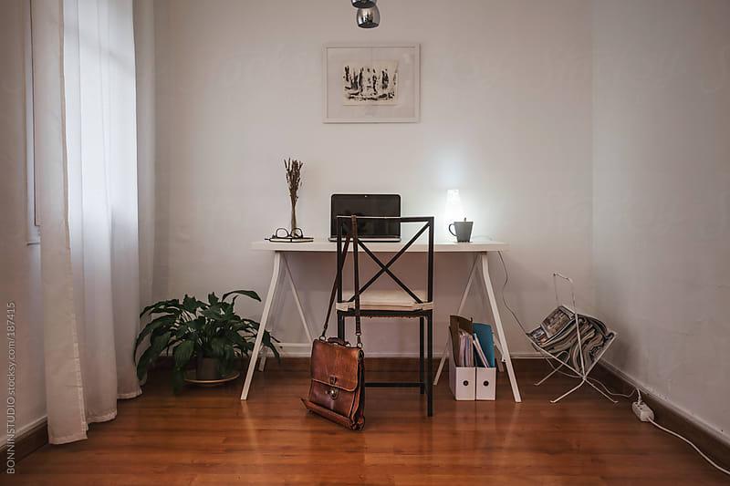 White desktop on home office. by BONNINSTUDIO for Stocksy United