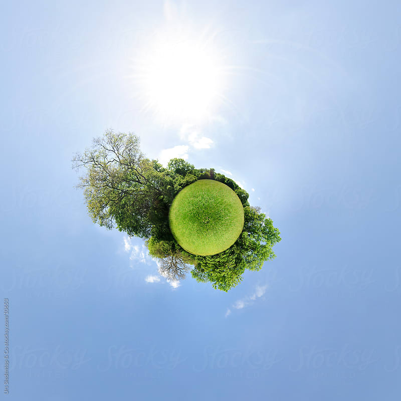 Little planet spherical panorama of nature  - grass and trees by Urs Siedentop & Co for Stocksy United