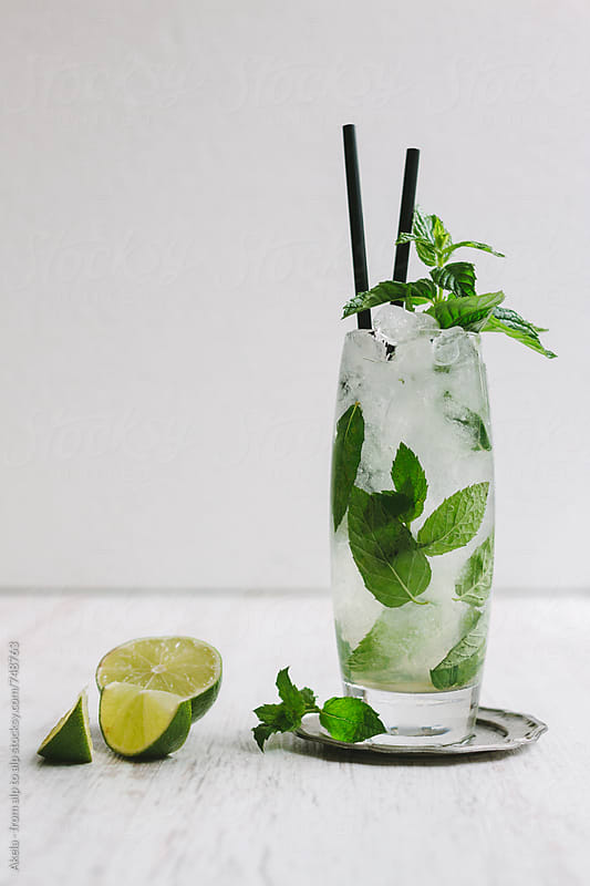 mojito long drink with fresh mint and limes on white background by Leander Nardin for Stocksy United