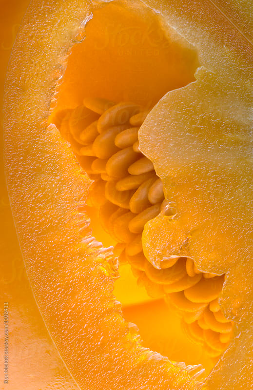 Closeup of patterns created by membranes and seeds in an orange bell pepper (Capsicum annuum) by Ron Mellott for Stocksy United