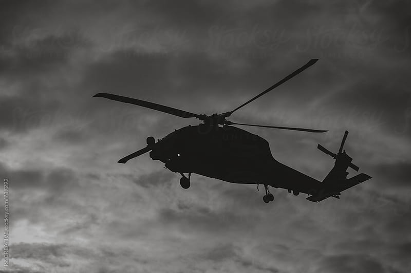 Military helicopter in flight. by Robert Zaleski for Stocksy United