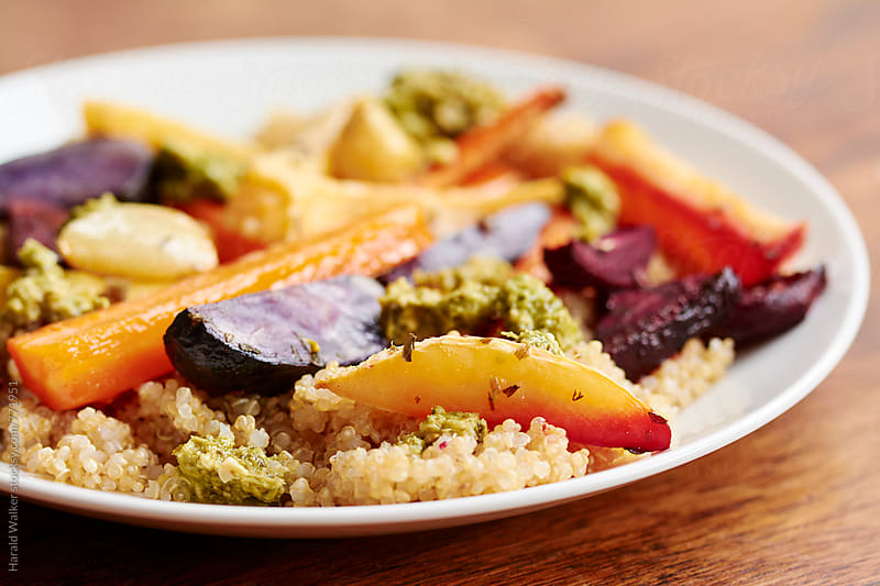 Roasted Fall Veggies on Quinoa by Harald Walker for Stocksy United