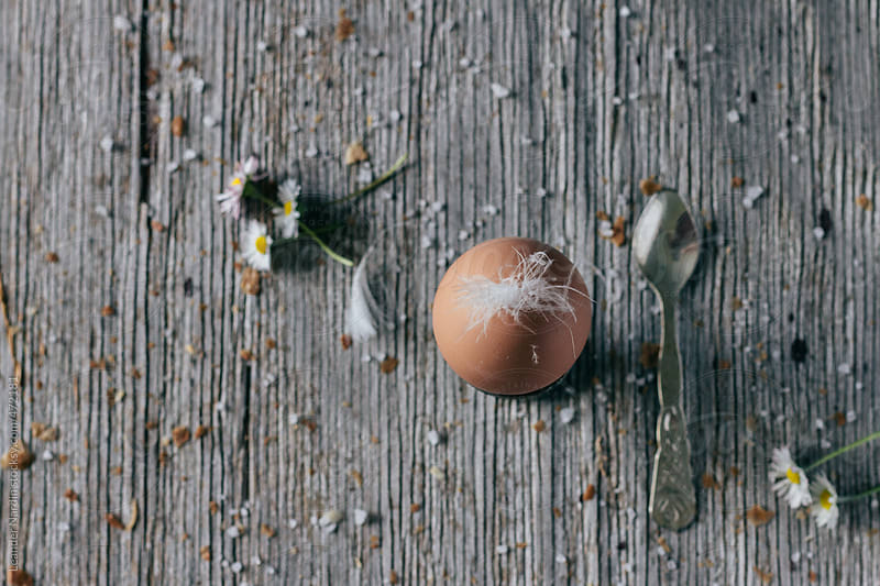 boiled breakfast egg on wooden board form above by Leander Nardin for Stocksy United