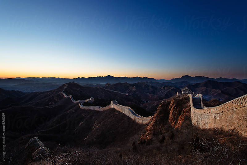 The Great Wall at sunset by zheng long for Stocksy United