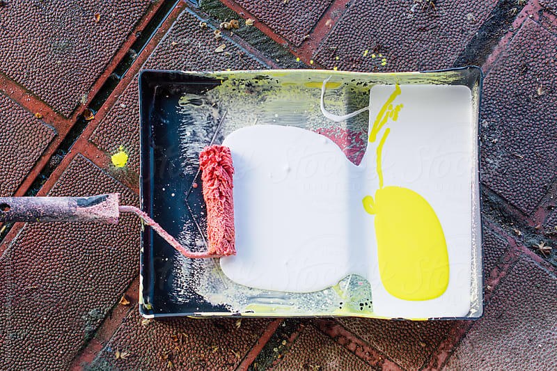 Paint tray and roller  by Pixel Stories for Stocksy United