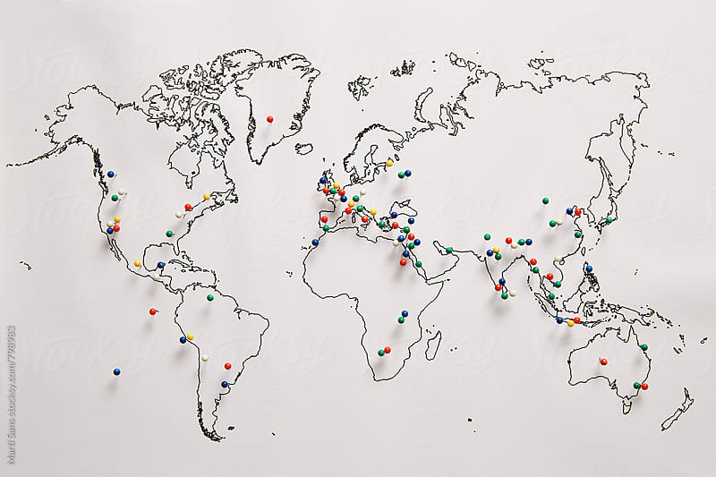 World's wonders in a map by Martí Sans for Stocksy United