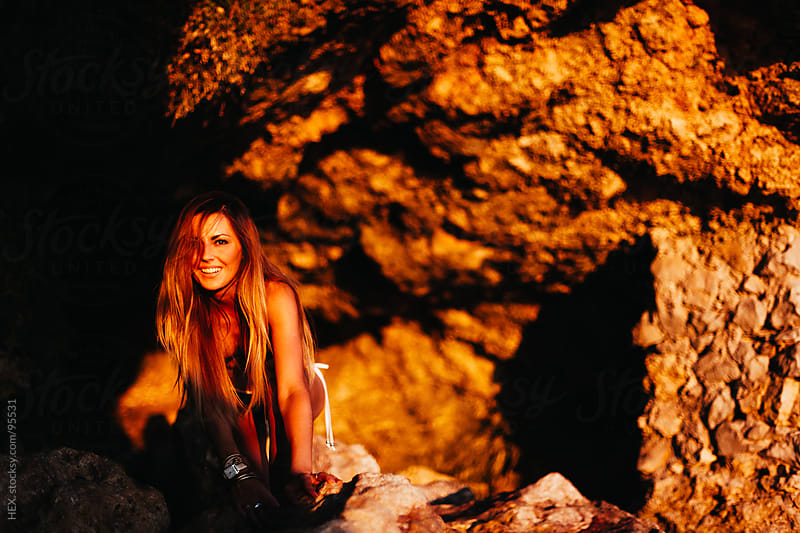 Summer Woman Portrait into a Cave by HEX. for Stocksy United