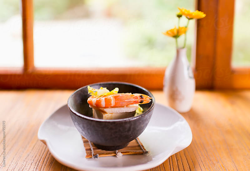 shrimp and tofu, Japanese food in bowl by Lawren Lu for Stocksy United