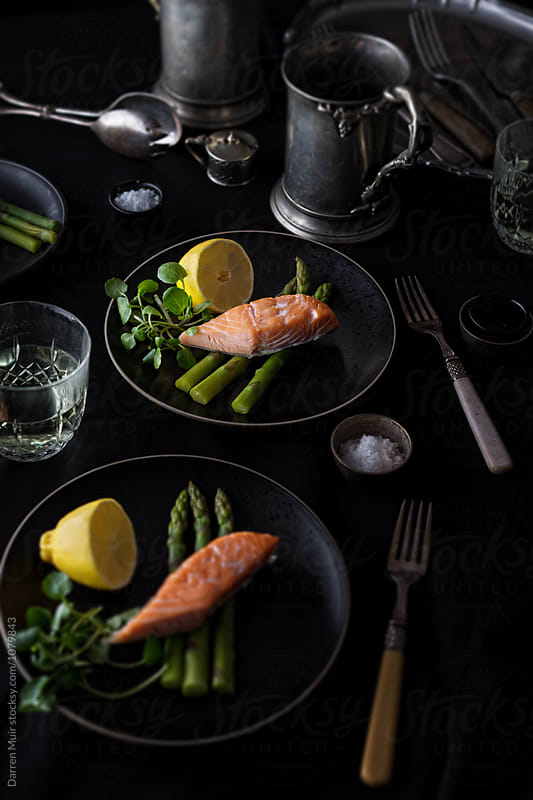 Hot smoked salmon with asparagus and watercress. by Darren Muir for Stocksy United
