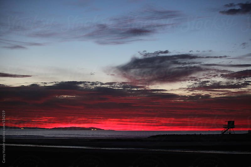 A Pink Sunset On The Pacific Ocean by Carey Haider for Stocksy United