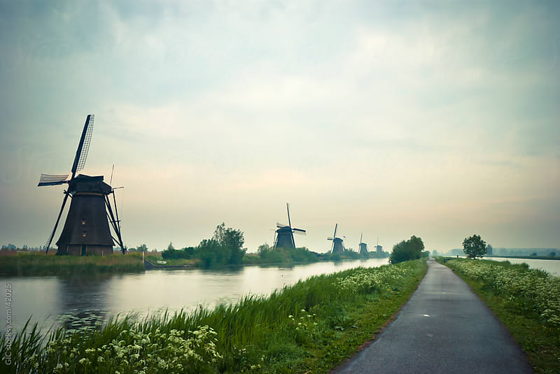 Windmills and canals in Kinderdijk - Holland by GIC for Stocksy United