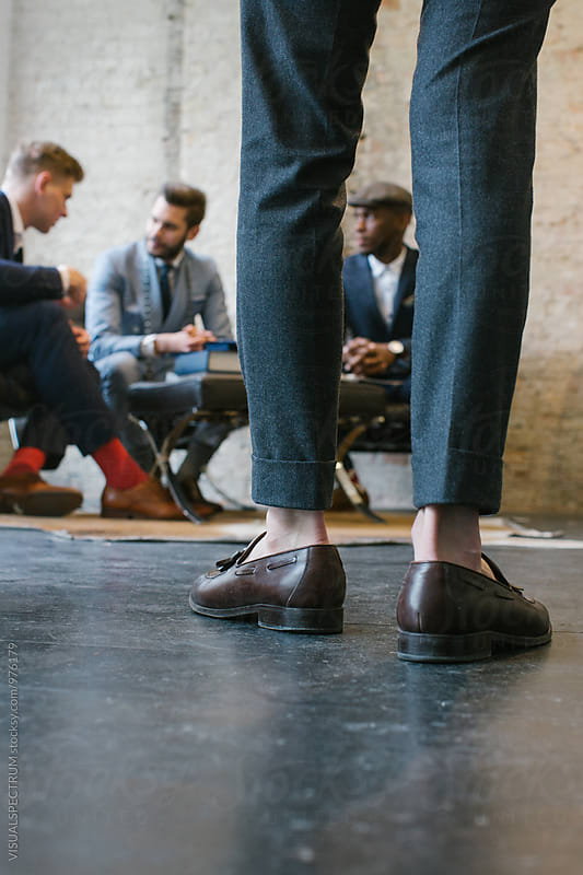 Men's Fashion Store - Close Up of Stylishly Dressed Young Man's Pants and Shoes by Julien L. Balmer for Stocksy United