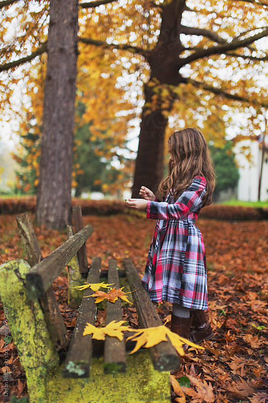 Child in park full with autumn leafs by Dejan Ristovski for Stocksy United