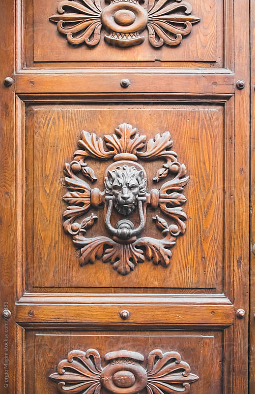 Wooden Door with Lion Knocker in Tuscany, Italy by Giorgio Magini for Stocksy United