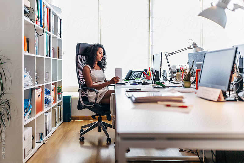 Black Businesswoman Working at the Office