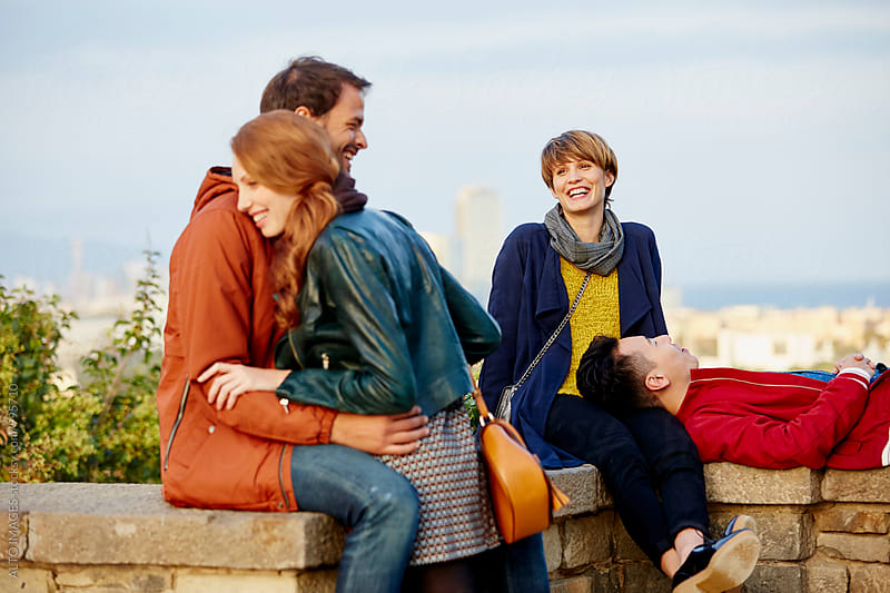 Happy Couples Enjoying At Observation Point by ALTO IMAGES for Stocksy United
