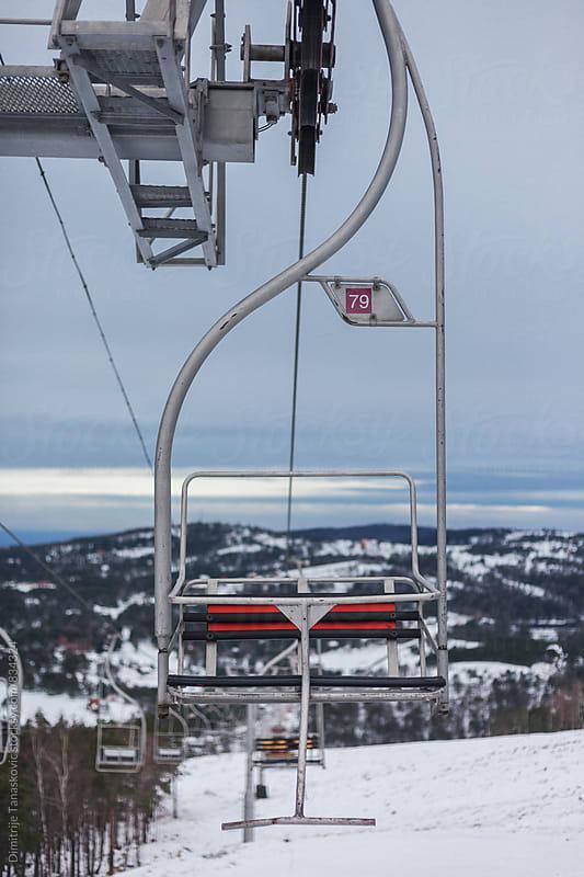 Old ski lift during the winter by Dimitrije Tanaskovic for Stocksy United