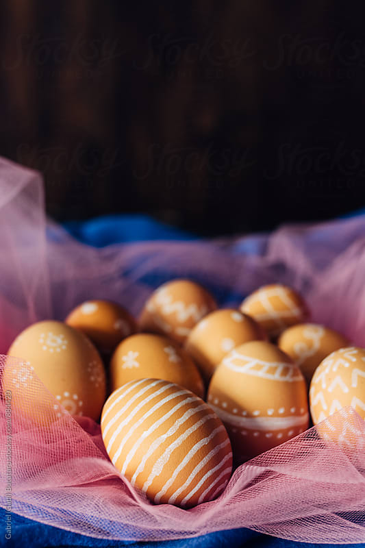 Brown eggs with doodles by Gabriel (Gabi) Bucataru for Stocksy United