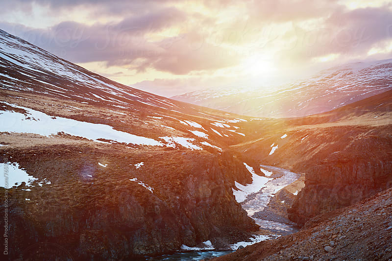 Iceland snow mountain sunset by Daxiao Productions for Stocksy United
