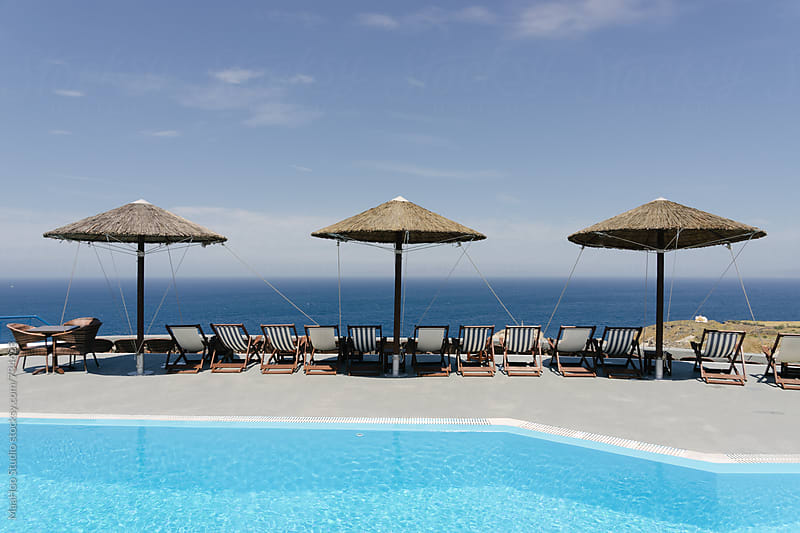 Swimming pool in a luxury Hotel of Santorini by Maa Hoo for Stocksy United