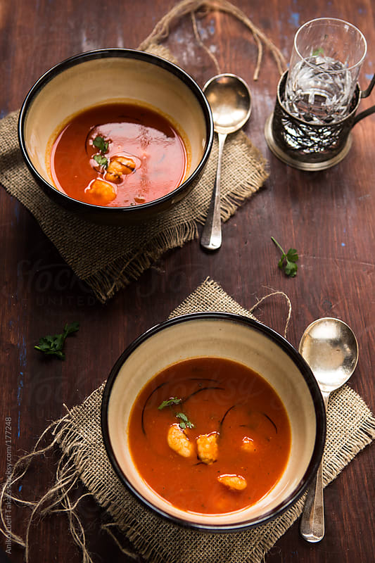 Roasted Pepper Soup with Prawns by Aniko Lueff Takacs for Stocksy United