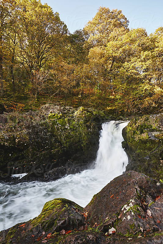 Skelwith Force waterfall in Autumn. Cumbria, UK. by Liam Grant for Stocksy United
