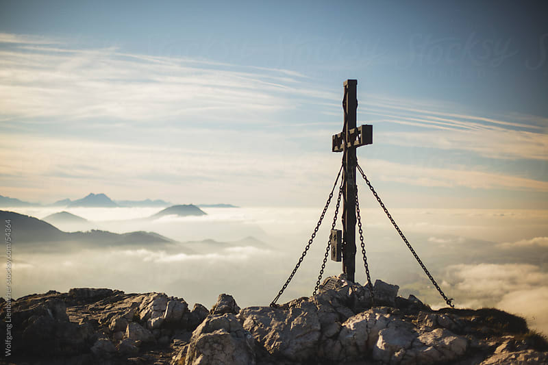 Summit Cross on the Schober looking to Salzburg by Wolfgang Lienbacher for Stocksy United