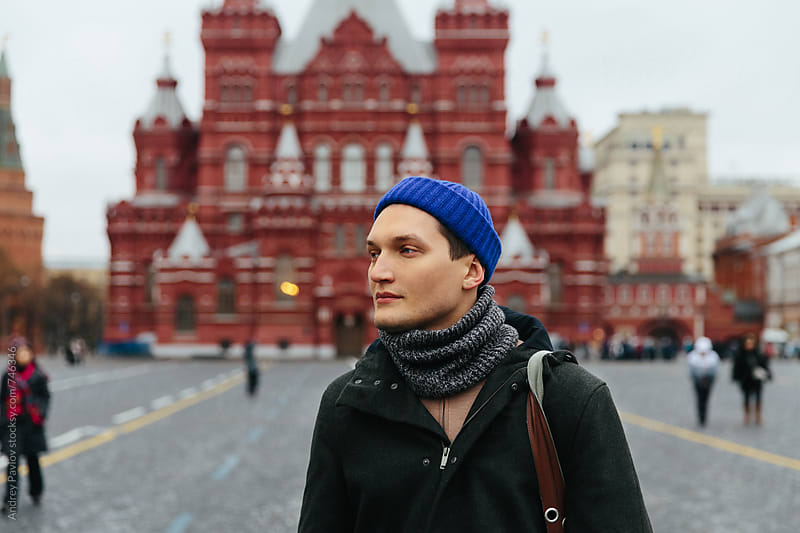 Man in front of Historical Museum at Red Square by Andrey Pavlov for Stocksy United