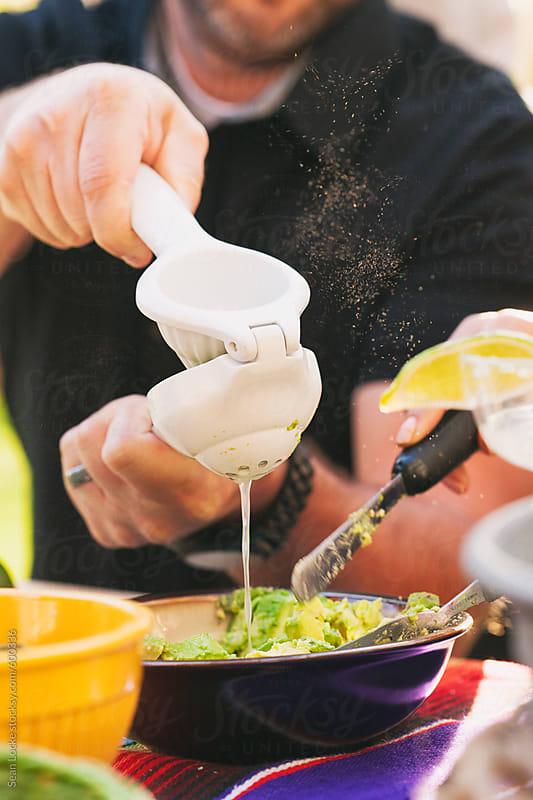stock photo: making guacamole
