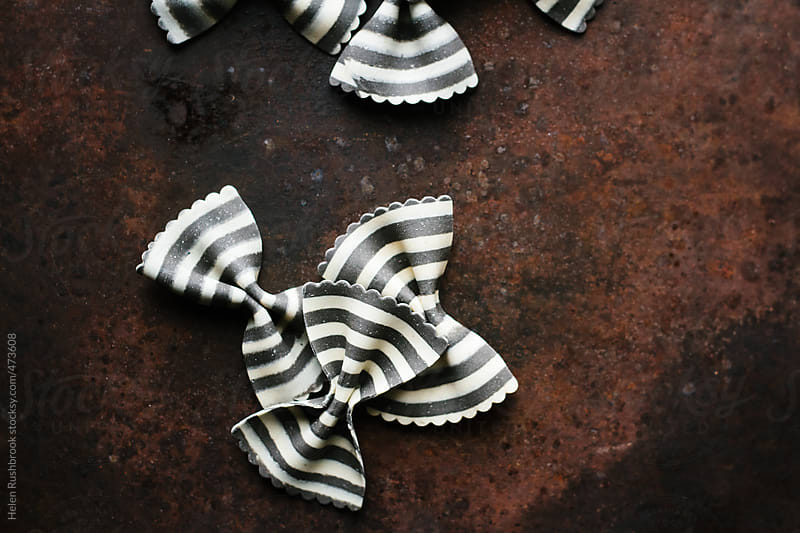 Striped Farfalle pasta. by Helen Rushbrook for Stocksy United