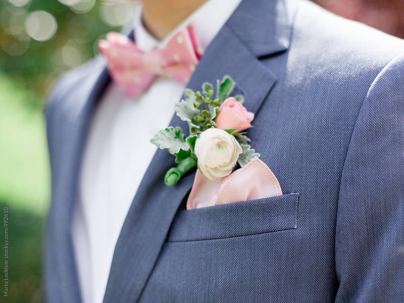 Detail of Bow Tie and boutonniere by Marta Locklear for Stocksy United