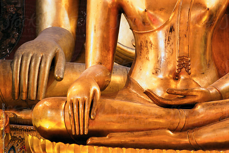 Thailand, Bangkok, Wat Bovornives (Bowonniwet) seated Buddha images by Gavin Hellier for Stocksy United