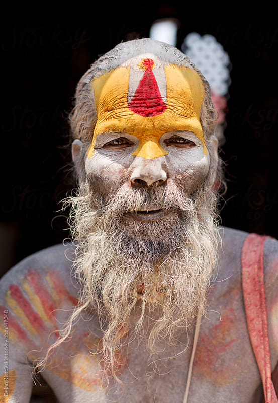 Portrait of sadhu, holy man by Dejan Ristovski for Stocksy United