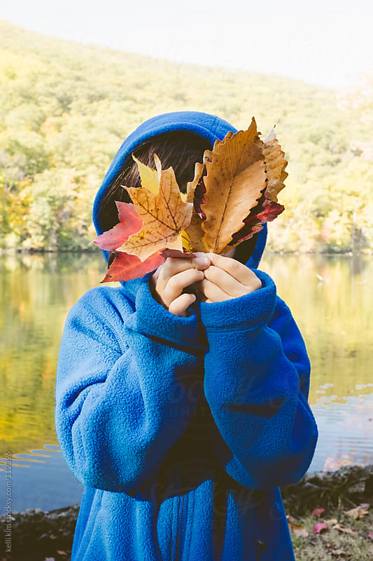 Young Child Holds Autumn Leaves In Front Of Face by kelli kim for Stocksy United