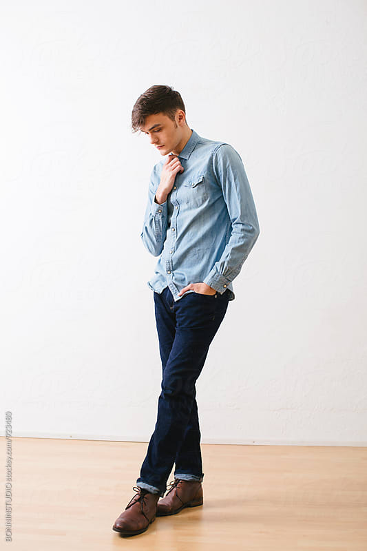 Portrait of a guy wearing denim clothes. by BONNINSTUDIO for Stocksy United