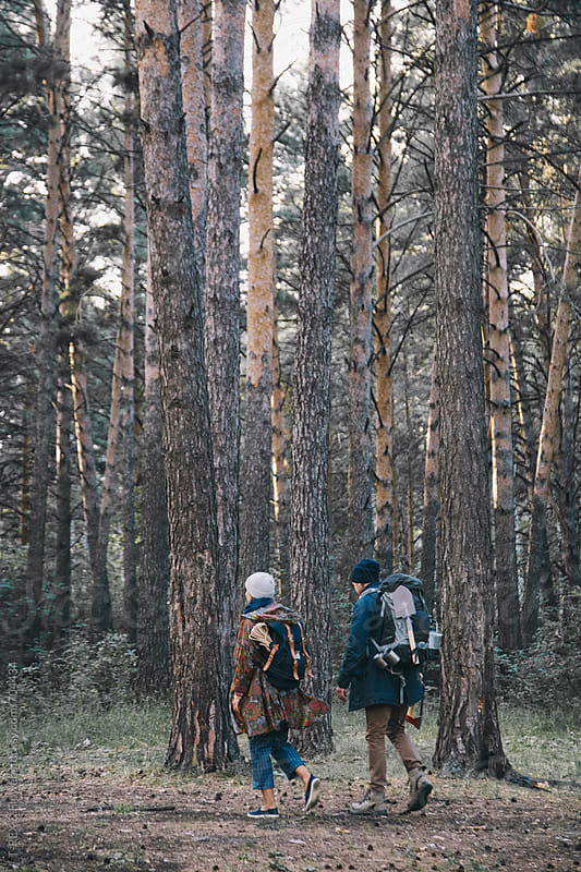 Hiking in the forest by T-REX & Flower for Stocksy United