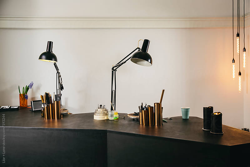 Interior of a small jewelry studio by Lior + Lone for Stocksy United
