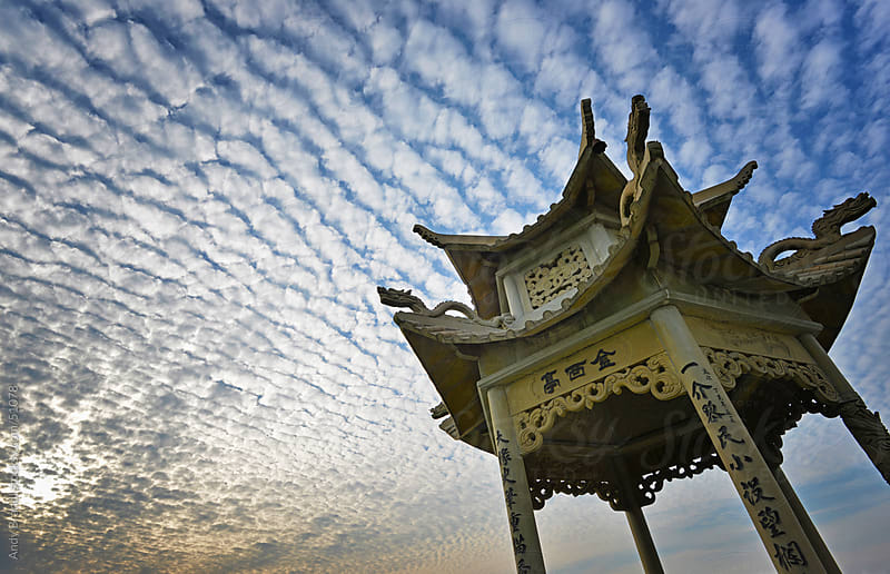 Streaming Cloud Pagoda (Xiaoshan Monastery) by Andy Brandl for Stocksy United