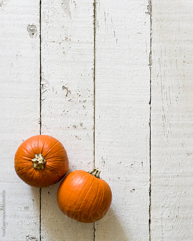 Two small orange pumpkins on white background by Trent Lanz for Stocksy United