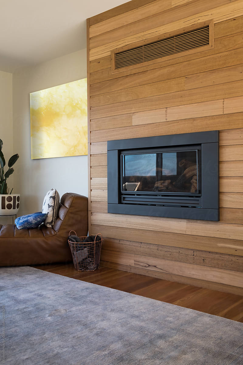 In Built Gas Fireplace In Luxury Home By Rowena Naylor Stocksy