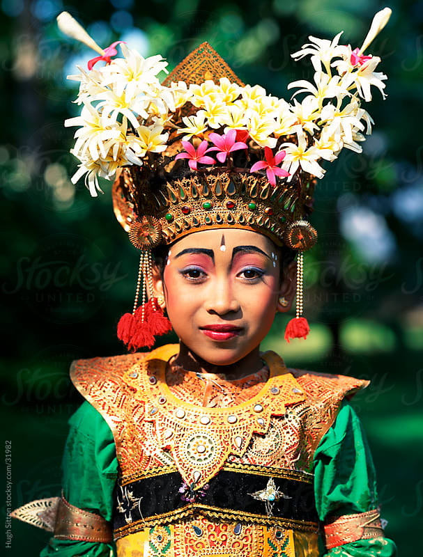 Portrait of smiling Legong Dancer. Bali by Hugh Sitton for Stocksy United