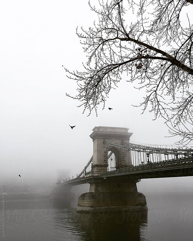 Chain Bridge covered in fog by Jovana Rikalo for Stocksy United