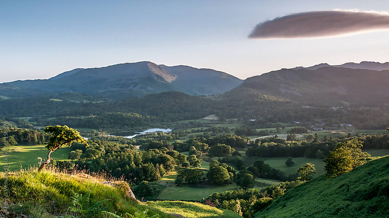 Panoramic View over the British Lake District in Summer by Andreas Wonisch for Stocksy United