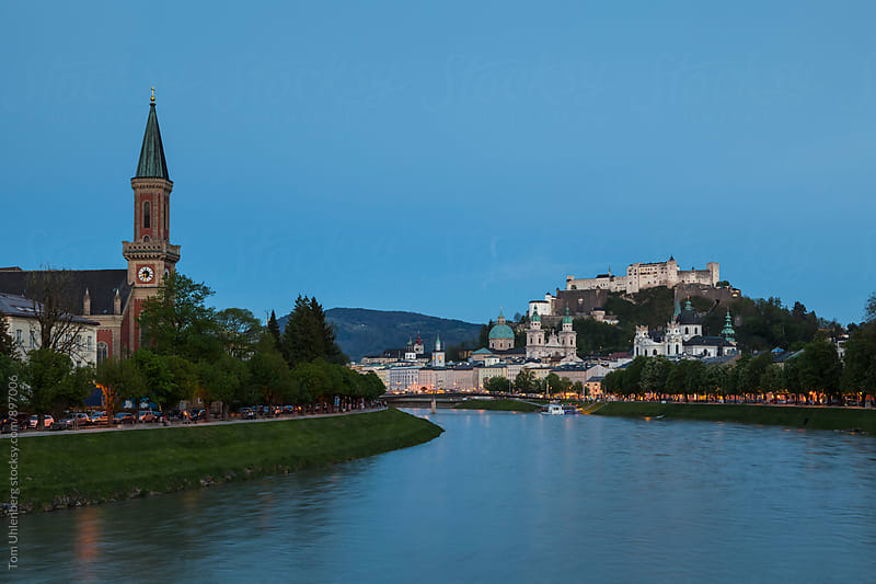 Salzburg, Austria - City Skyline at Dusk by Tom Uhlenberg for Stocksy United