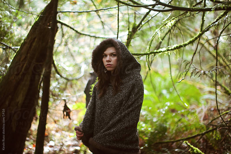 Cold Hooded Outdoor Woods Woman by Kevin Russ for Stocksy United