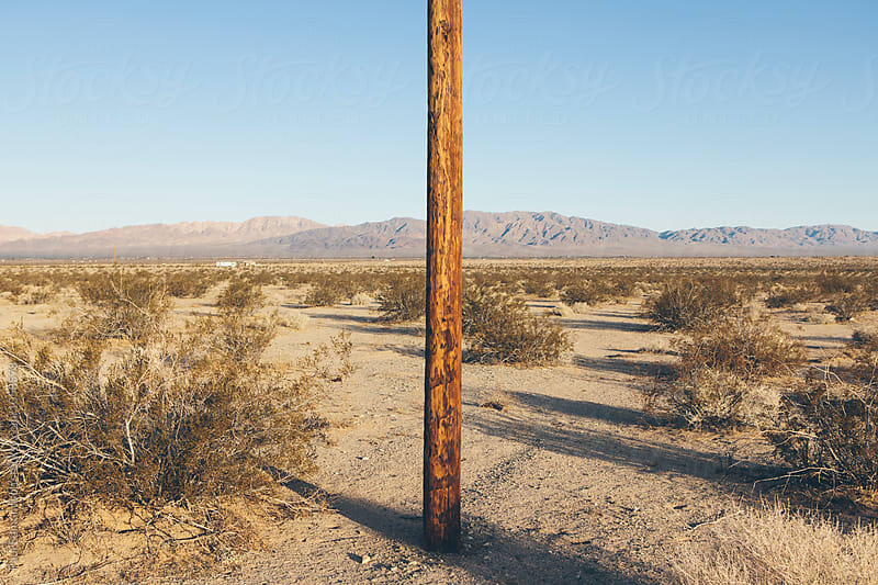 Telephone pole in Mojave Desert, Surprise Valley, CA, USA by Paul Edmondson for Stocksy United