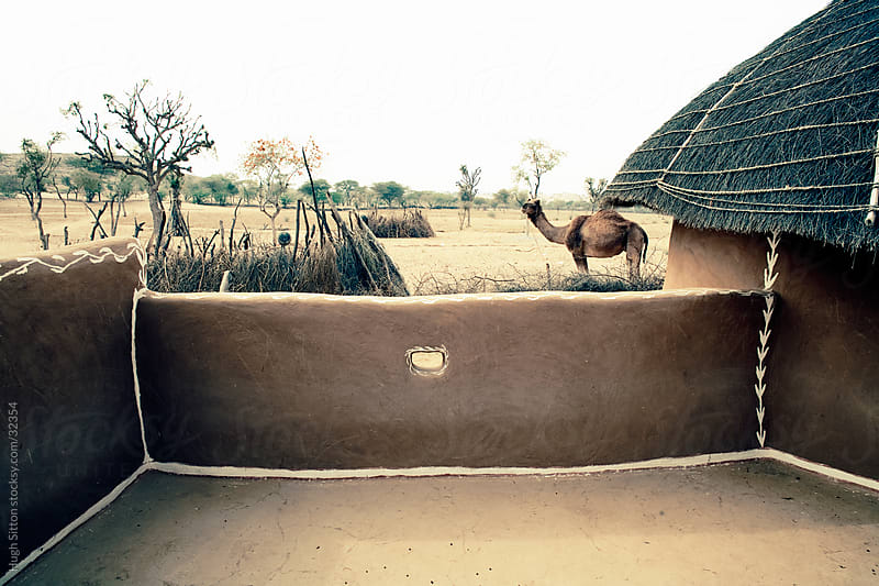 Desert home in the Thar Desert. Rajasthan. India by Hugh Sitton for Stocksy United